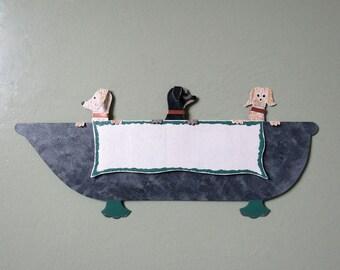 Metal Wall Art Bathtub Doggy Decor Three Dogs On Wash Day Recycled Metal Bathroom Wall Sculpture  6 x 13