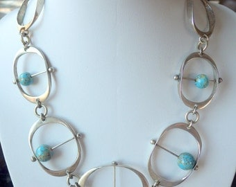 Striking Mod Necklace - Sterling Silver - Mid Century - Choker - Movement