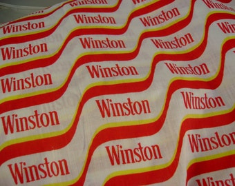 "Vintage 1990s Winston Cigarettes Red and White Cotton Sewing Fabric~ 1 yard 44"" wide"