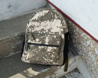 Bleached Denim Backpack with waterproof lining