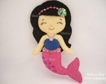 Personalized mermaid felt ornament Christmas felt ornament mermaid ornament for girl