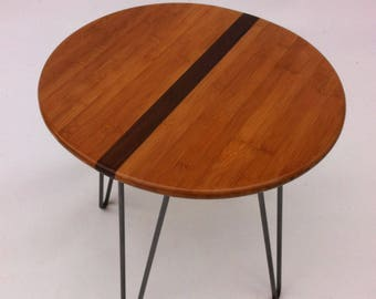 """QUICK SHIP! 20"""" Round Mid Century Modern Side Table With Stripe- Atomic Era Design In Caramelized Bamboo with Walnut Stripe on Hairpin Legs"""