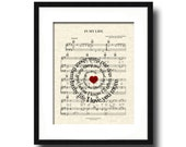 The Beatles In My Life Song Lyric Sheet Music Art Print, Spiral Word Art, Custom Wedding Gift, Custom Anniversary Gift, Names and date art