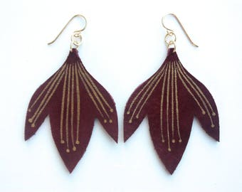 Hand Painted Leather Earrings - Bali Bloom - Burgundy Wine Suede with 14k Gold-Fill