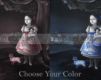 CHOOSE YOUR COLOR Blue or Red Willow Girl with China Doll and Siamese Cat Primitive Folk Art