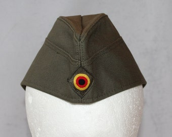 Vintage German Military Garrison Hat, Yellow, Red and Black Target on Front, Canvas