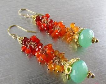 25OFF Peruvian Blue Opal With Shaded Carnelian Boho Style Earrings