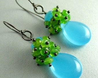 25% Off Turquoise Blue Chalcedony and Green Jade Sterling Silver Earrings