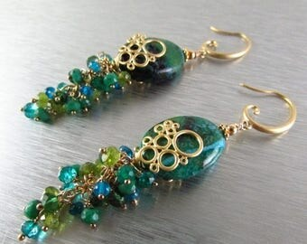 25 % OFF Chrysocolla Cluster Earrings