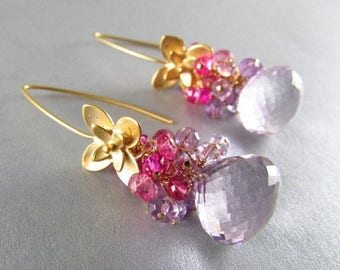 25 % OFF Pink Amethyst, Pink Topaz and Pink Quartz Gold Filled Earrings