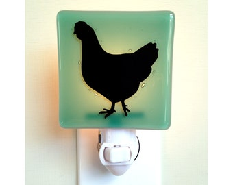 Chicken Night Light - Hand Painted Fused Glass