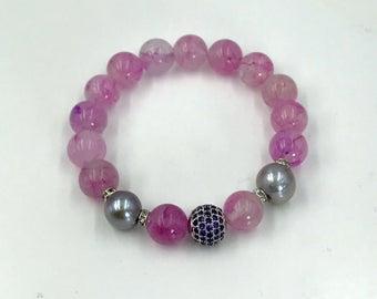 Pink Jade CZ Stretch Layering Bracelet Pave Purple Amethyst CZ Bead Yoga Bracelet Stacking Bracelet Mala Bracelet Pink Stack Bracelet Pearl