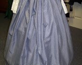 Civil War Skirt,Victorian,costume Long drawstring SKIRT and Sash Navy Blue and white checked Taffia with matching sash Handmade
