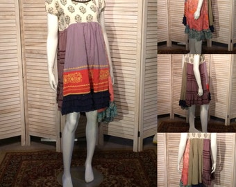 Upcycled Dress Gypsy Festival Tunic India Dress Embroidery Upcycled Clothing Ruffles Patchwork tunic Eco Sz L artsy DeviDesigns