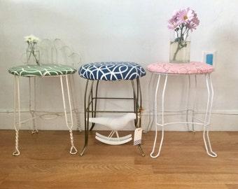 vintage  vanity mid century chair blue