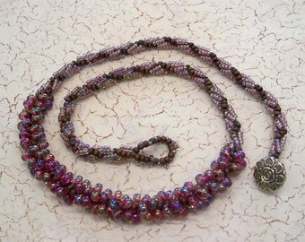 Purple Seed Bead and Drop Bead Spiral Bead Woven Necklace by Carol Wilson of Jet'adorn
