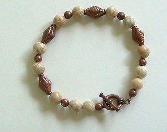 Creamy Ivory Ocean Jasper Gemstone Beads with Antiqued Copper Beads by Carol Wilson of Je t'adorn