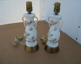 pair of matching milk glass hobnail  with flowers table lamps