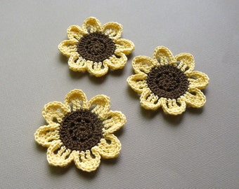3 Crochet Flower Appliques -- Pale Yellow Sunflowers
