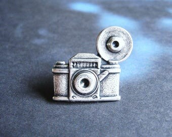 Say Cheese - Antiqued Silver Plated Vintage Camera Lapel Pin or Tie Pin, Tie Tack  with Gift Box