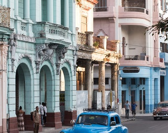 Cuba Photography, Taxi Call in Cuba, Blue Vintage Car in Havana, Travel Photography, Color Photography, Wanderlust, Old Havana, Visit Cuba