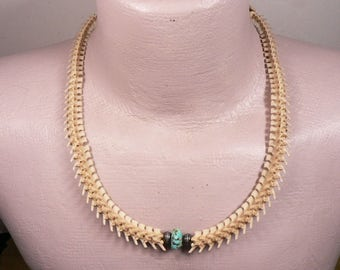 Big Mountain Man or Woman Adjustable Rattlesnake Vertebra / Necklace / Choker / Turquoise and Sterling Silver Beads