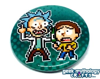 Rick and Morty Pin Button Badge Pixel Art 1.5""