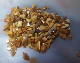 Yellow Jasper tumbled mini chip stones - extra small tiny pebbles genuine natural crystal South Africa mustard color 2-5 mm - by the gram