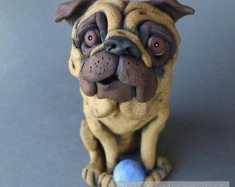 Pug Dog with Ball Ceramic Sculpture