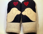 RESERVED FOR DONNA Wool Sweater Mittens Dark Grey Cream and Black Labrador Applique and Leather Palm Eco Friendly Upcycled  Size L