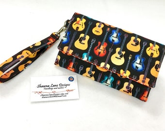 women's wallet, wristlet, novelty guitars fabric wallet, black red colorful wallet, small phone purse, errand runner wallet, small handbag