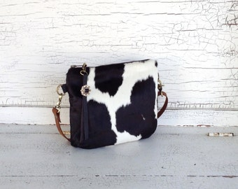 Small Hair On Cowhide & Waxed Canvas Cross Body Purse, Shoulder Bag