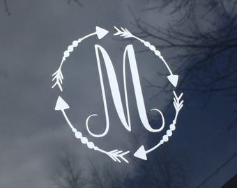 Monogram arrow decal, car decal, arrow decal, computer case decal, yeti decal, water bottle decal