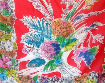 Vintage Silk Scarf 1950s Red Blue Green Floral Silk Scarf Scarves Hand Rolled Edges Pure Silk