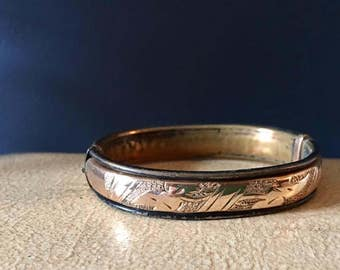 Antique Victorian Rose Gold Bangle Bracelet Repousse ornage