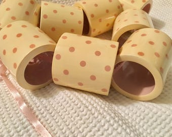 8 Retro Pink dot napkins Shabby chic