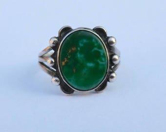 Vintage Sterling Green Turquoise Ring Boho Southwest Size 6