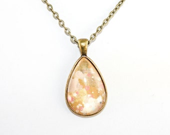 Splatter Painting Pendant - Abstract Art Brass Teardrop Necklace - Rose Gold Colorway: Pale Pink, Tan, Coral, Gold