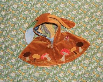 golden velvet bunny ear cape with mushroom applique