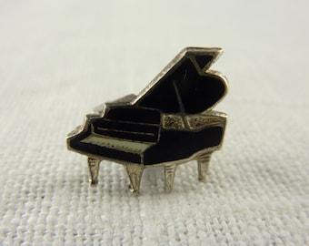 Vintage Sterling Enamel Grand Piano Lapel Pin