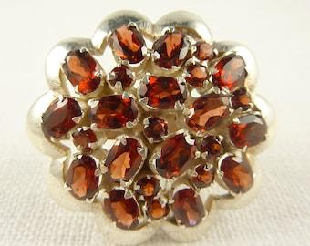 Size 9.25 Huge Vintage Sterling and Garnet Ring