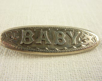 Antique Victorian English Sterling Baby Name Brooch