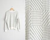 Size M // PREPPY PATTERNED SWEATER // Cream & Sage Green - Cotton Jumper - Golfing Sweater - Geoffrey Beene - Vintage '90s.