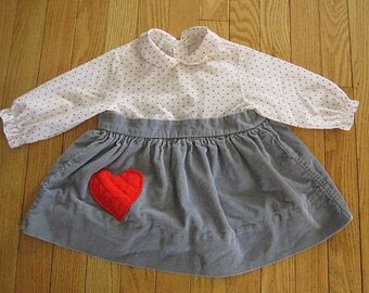 Vintage 60s Toddler Dress White with Red Heart Print Gray Corduroy Dress with Heart Patch Size 3T