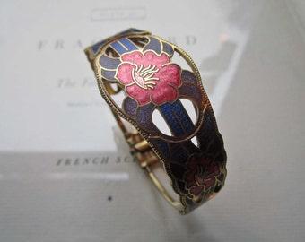 Vintage Jewelry * 1970's 80's Cloisonné * Purple Pink Gold Bracelet * Quality Costume Jewelry * Tropical * Vintage Cost plus * World Market
