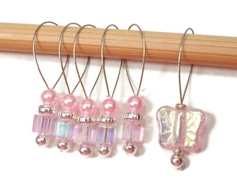 Stitch Markers Snagless Pink Cube Butterfly Knitting Tools Beaded Snag Free Handmade Gift for Knitter