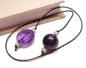 Book Thong Beaded Bookmark Book Cord Book String Dark Purple Book Club Teacher Gift