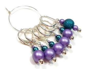Removable Stitch Markers Crochet Row Markers Purple Teal Locking Knitting Supplies DIY Crafts