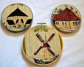 Hoop Art Wall Hanging, Denmark Houses, Windmill,  Hoop Art, Wall Art, Upcycled Linen