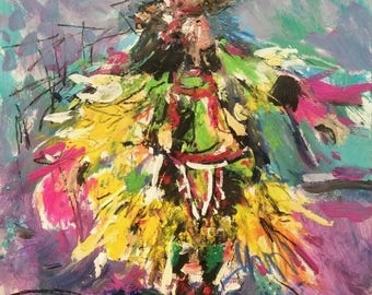 Southwest Art original painting, Pow Wow Indian Dancer, Native American dancer, Russ Potak